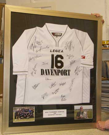 Framing football shirts, framing rugby shirts